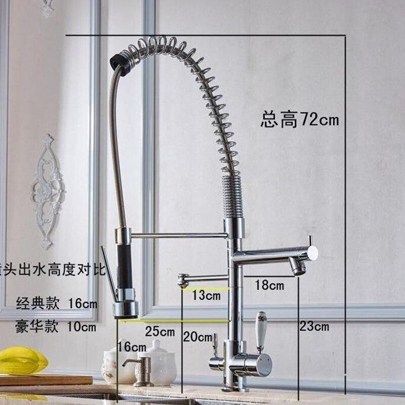 Küche pull out mit spray reines wasser küche wasserhahn 3 way doppel funktion füllstoff küche wasserhahn 3 kopf tap für wasser filter
