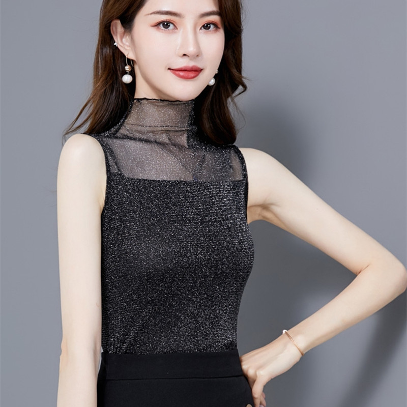 Korean Silk Women Blouses Woman Satin Mesh Blouse Tops Plus Size Woman Sleeveless Blouse Shirts Blusas Mujer De Moda Women Tops