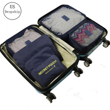 New 6Pcs/set Travel Luggage Storage Bag Suitcase Packing Set Portable Waterproof Clothes Baggage Cube Cases Organizer In