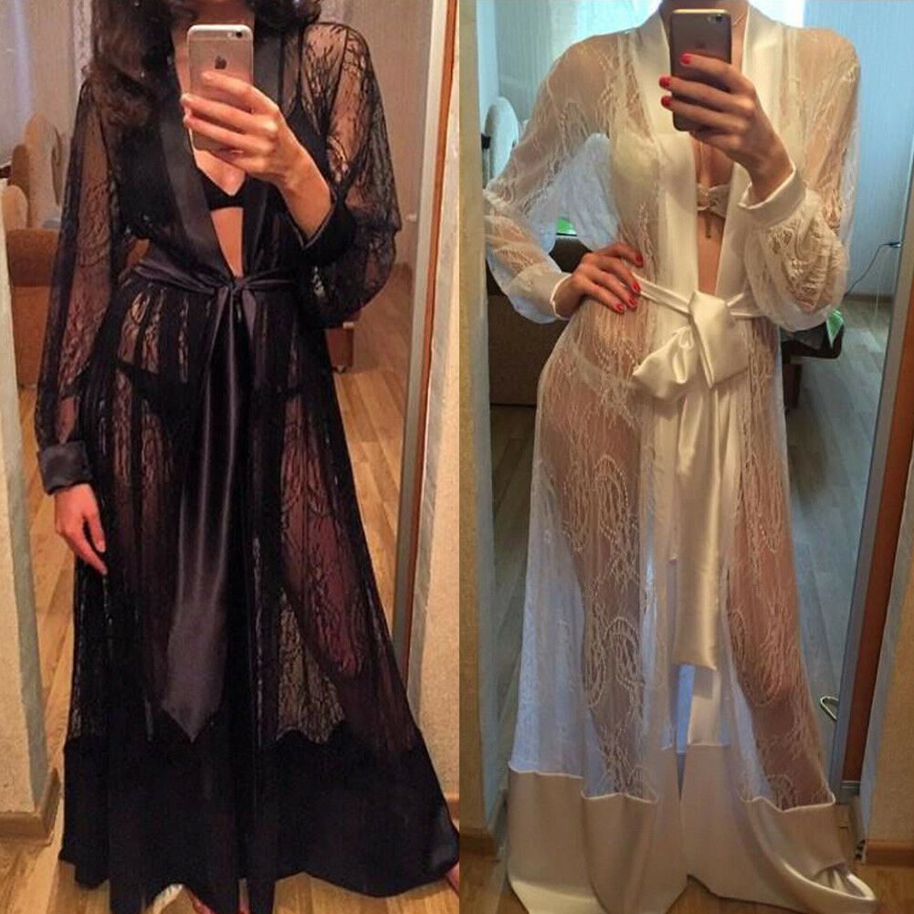 Meihuida Women Sexy Lingerie Long Silk Kimono Dressing Gown Bath Robe Lace Up Babydoll Nightdress Erotic Sex Costume