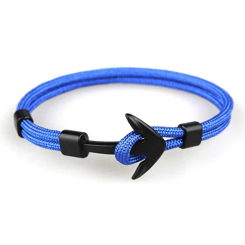 Nero di colore Blu di Ancoraggio Del Braccialetto di Corda Catena Braccialetto per le Donne Degli Uomini di Stile del Blu Marino Regali
