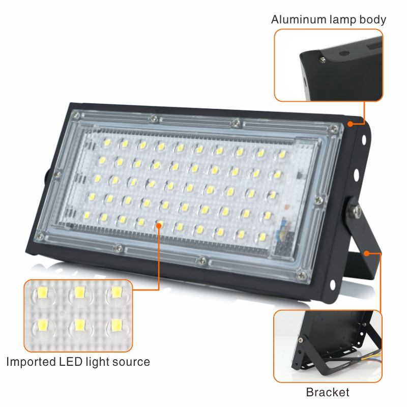 Image 2 - 2pcs/lot 50W Led Flood Light AC 220V 230V 240V Outdoor Floodlight Spotlight IP65 Waterproof LED Street Lamp Landscape LightingFloodlights   -