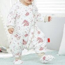Зимний конверт для новорожденного, детское платье с длинным рукавом, раздельные ноги, теплая одежда, Детские шлёпанцы, утепленные, BMT051