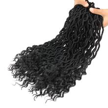 18 inch Goddess Faux Locs Curly Wavy Crochet Braids 24 Roots Black Synthetic Braiding Hair Extensions For Women Pageup