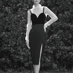 Image 2 - TWOTWINSTYLE Casual Slim Vintage Split Womens Dresses Square Collar Spaghetti Strap High Waist Dresses Female 2020 Fashion Tide