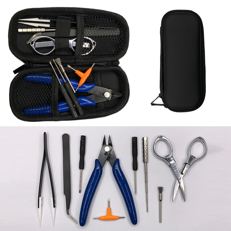 Hot NEW Mini Vape DIY Tool Bag Tweezers Pliers Kit Coil Jig Winding For Packing Electronic Cigarette Accessories For Ego Electro
