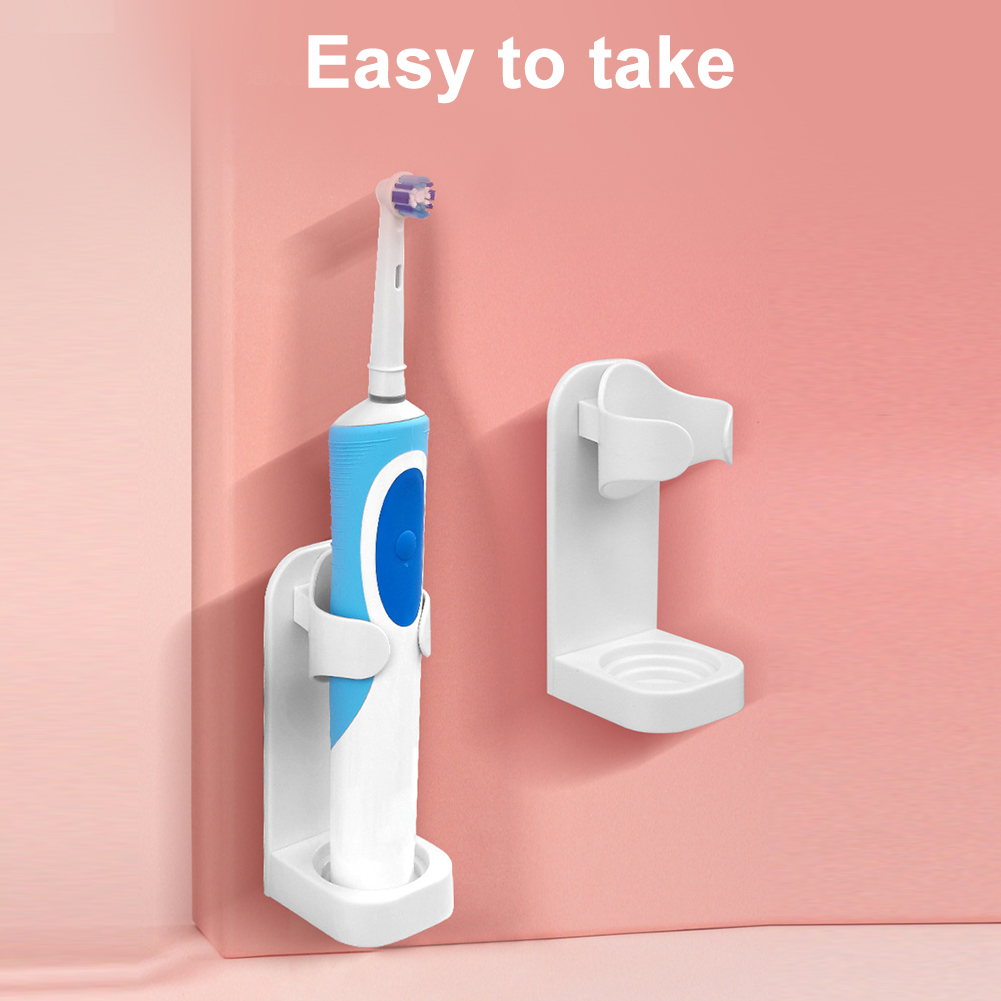 Bathroom Traceless Self Adhesive Modern Space Saving Wall Mounted Hygienic Stand Electric Toothbrush Holder Organizer Hanger image