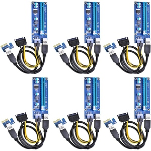 Image 1 - 6 Pack 6 Pin PCIe PCI E Express 1X to 16X Riser Card with 6 Pin PCI E to 15 Pin SATA Power Cable and 60cm USB 3.0 Cable