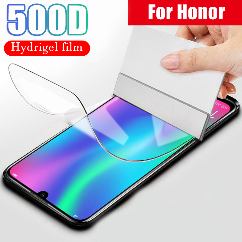 500D Protective Hydrogel Film For Huawei Honor 8x 8 9 10 Lite 10i 20 Pro 7a 7c Pro Screen Protector Film Full Cover No Glass(China)