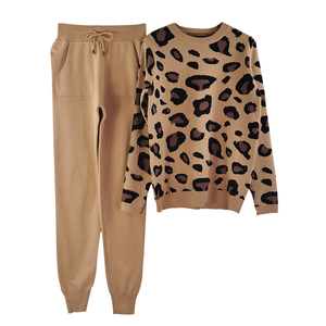 Image 4 - MVGIRLRU Autumn and Winter Women Suits Leopard  Knitted O Collor Pullover Sweater and Pants Two Piece Set