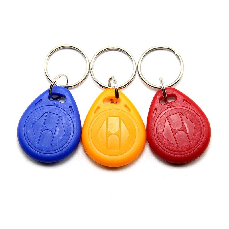 10 шт случайных цветов EM4305 T5577 Дубликатор значок копия 125 кГц RFID тег llavero порта Chave карты стикер брелок жетон кольцо