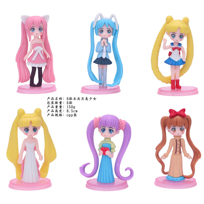 Cake-Decoration Sailor-Moon Light Anime Small with Bottom-Hair Office-Furnishing-Articles