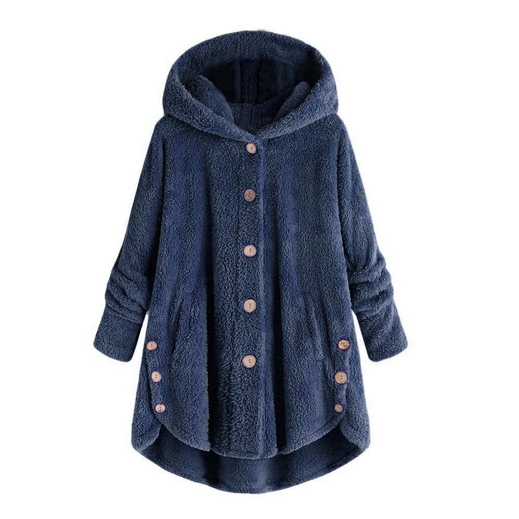 Female Jacket Plush Coat Fashion Women Button Coat Fluffy Tail Tops Hooded Pullover Loose Warm Sweater Wide Female Jackets