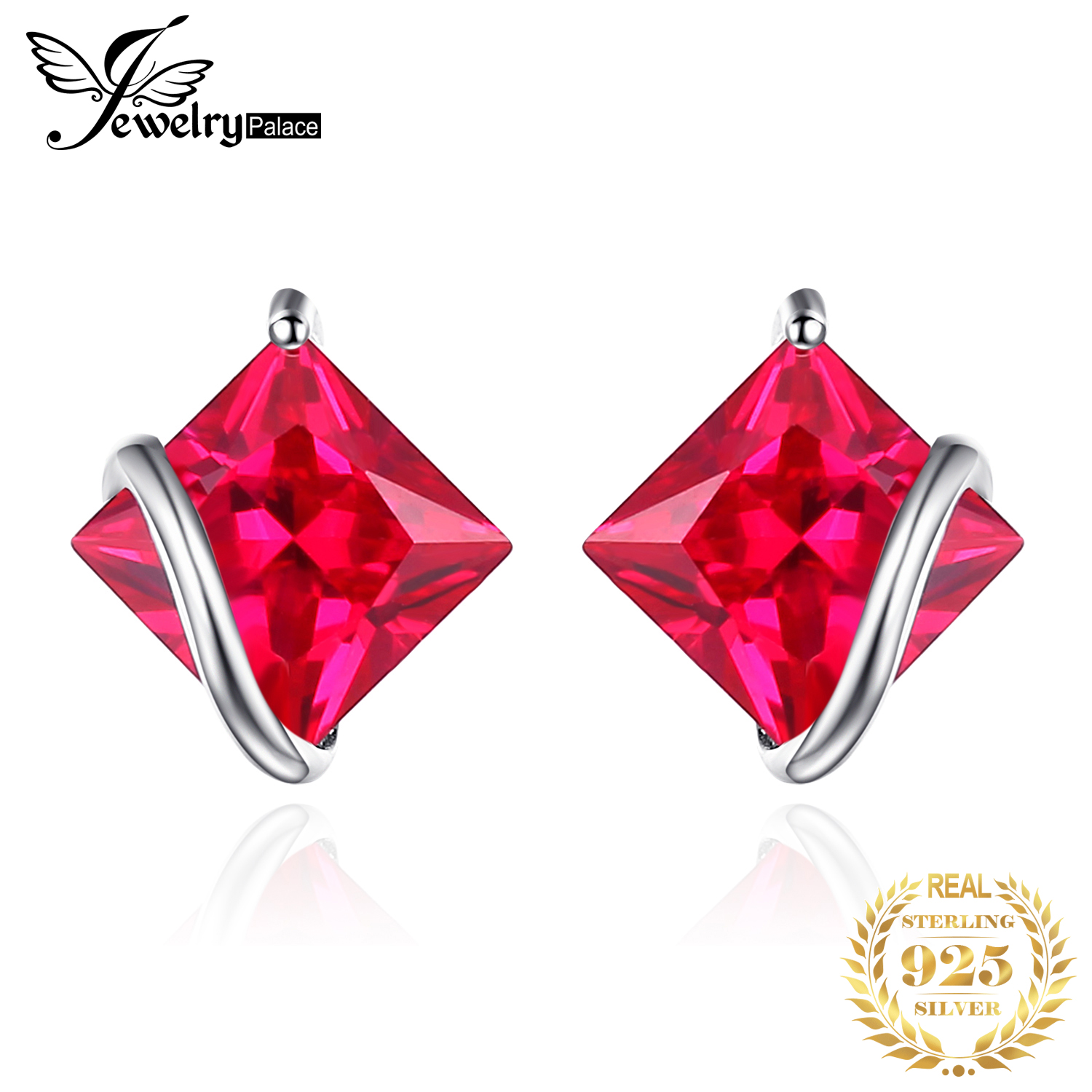 JewelryPalace Square Created Ruby Stud Earrings 925 Sterling Silver Earrings For Women Gemstone Korean Earings Fashion Jewelry