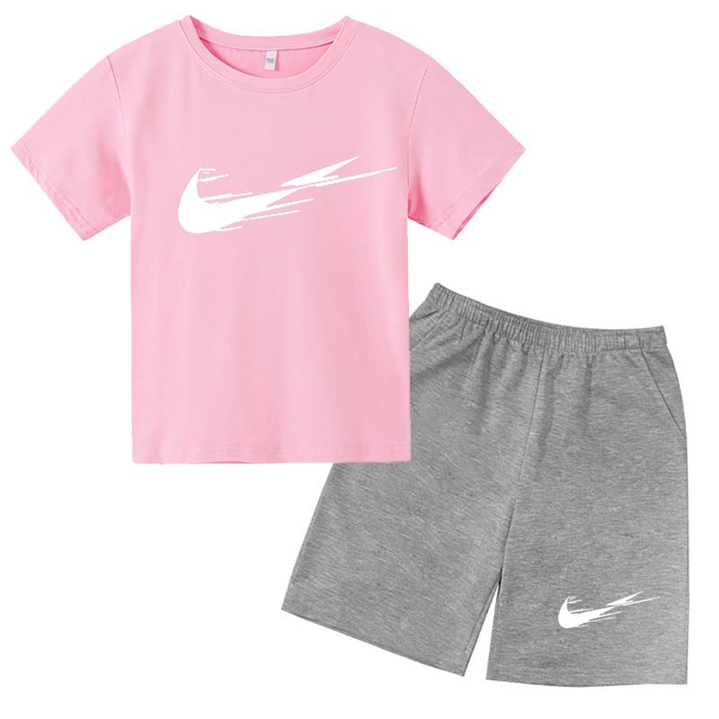 Children's Clothes Summer Suit Boys and Girls Clothing Casual Cotton Children's Tops + Shorts Children's Sportswear