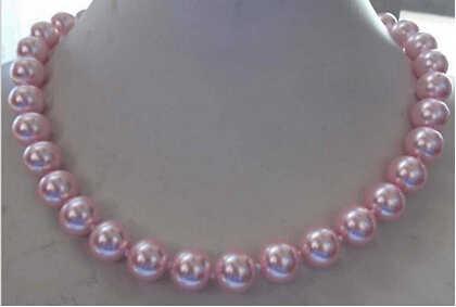+++ 817 ใหม่ 8mm AAA Pink South Sea Shell Pearl กลมลูกปัดสร้อยคอ