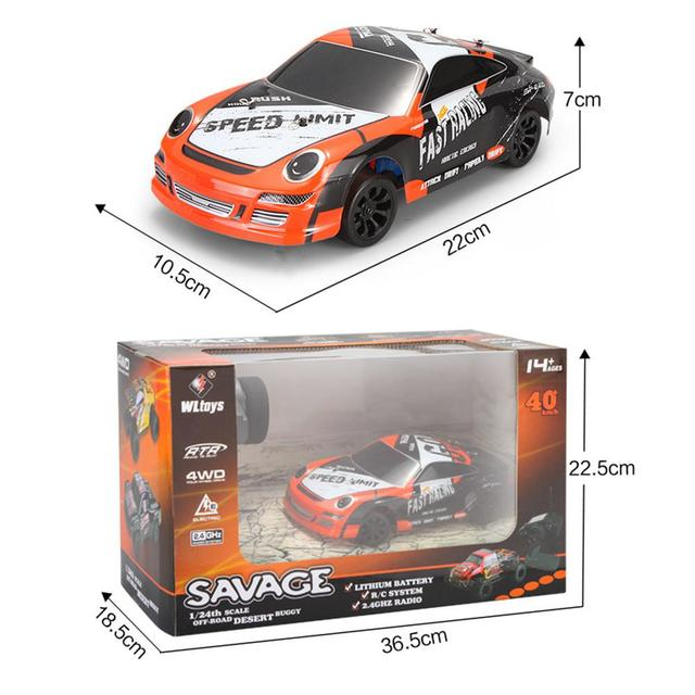 Wltoys A252 1:24 4WD Electric 4x4 Drive Remote Control Car 2.4GHz Racing Planning Off-road Drift Car Speed 35km Alloy Material 5