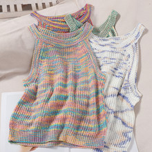 Korean comfortable color striped vest tops fashion hanging neck strapless outer small fresh knitted top sweet girl womens tops