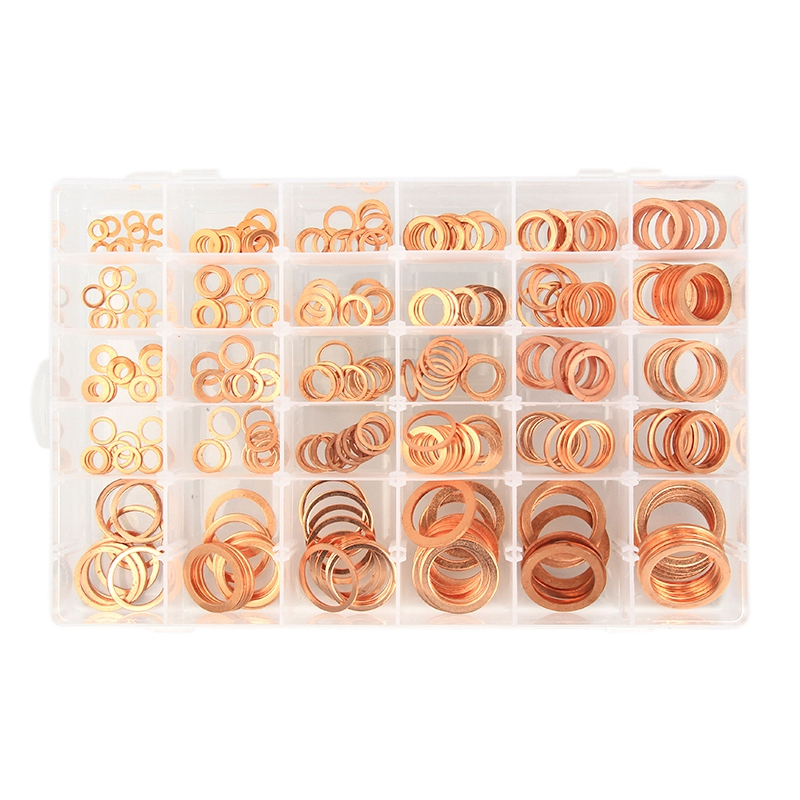 300Pcs Box-Packed Durable Copper Hardware Oil Seal Fitting Ring Seal Gasket Set Washer Flat Washer Fastener