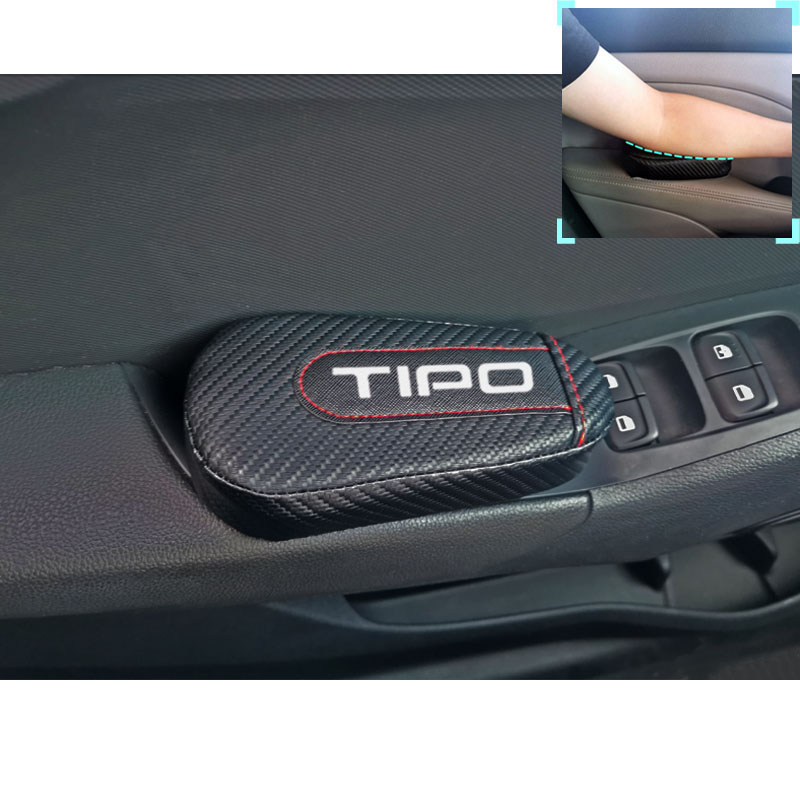 For Fiat Tipo 1pc Carbon Fiber Leather Auto Leg Cushion Knee Pad Car Door Arm Pad Car Accessories Vehicle Protective