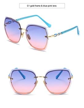 Fashion Oversized Sunglasses Women 2020 UV400 Designer Rimless Square Sun Glasses Woman Vintage  gafas de sol oculos With Box 13