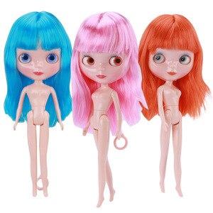 Blythe bonecas 1/6 30cm 7 brinquedos articulados para meninas bonecas bjd moda 3d olhos nu meninas diy marrom azul rosa cabelo para o presente do bebê