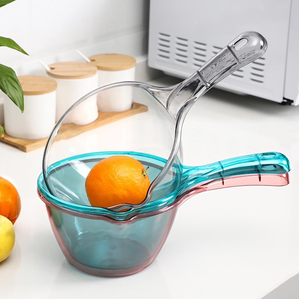 Transparent Kitchen Ladle Long Water Scoop Kitchen Spoons Bathroom Water Ladle Baby Bath Rinse Cup Home Kitchen Accessories