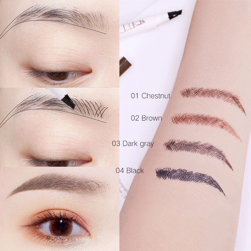 Dropshipping Music Flower 4 Pointed Liquid EyeBrow Pen Fine Sketch Tattoo Eyebrow Pencil Super Durable Waterproof Smudge-proof