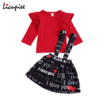 Outfits Pullover Suspender-Skirt Fly-Sleeve Baby-Girl 0-4-Years Casual Print 2pcs Letter