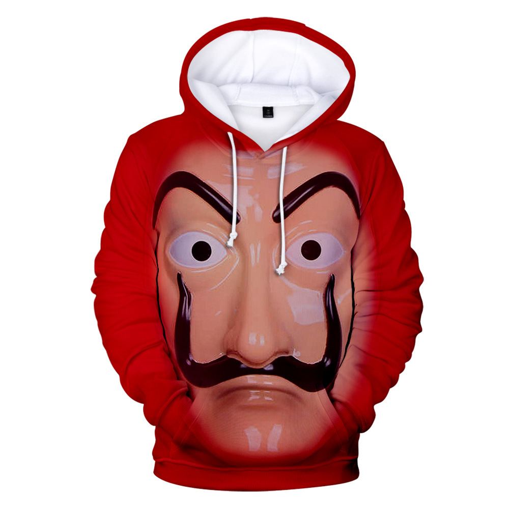 Movie La Casa De Papel Cosplay Hoodie Sweatshirt 3D Halloween Costume Salvador Paper House Tops Tshirts