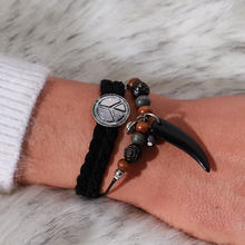 HOT Vintage Style Horn Woven Cow Leather Wrap Bracelet Brown Black Beads Pendant Men Women Bracelet Fashion Jewelry Gift(China)