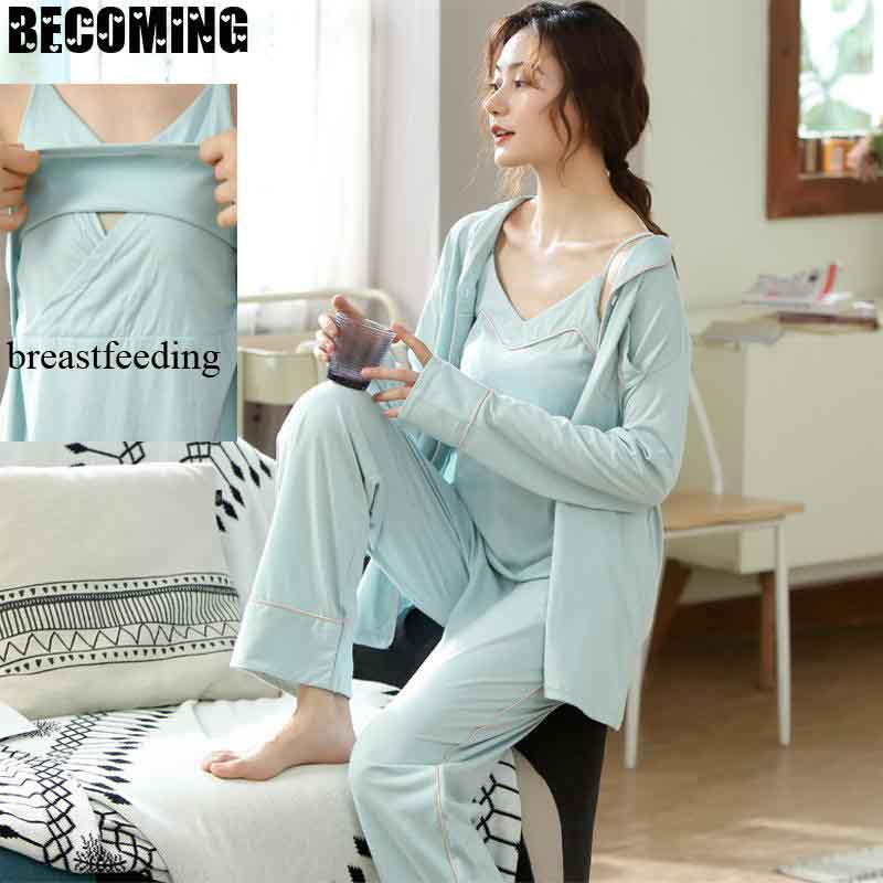 enfermagem pijamas de amamentacao gravida maternidade verao pijamas enfermagem 05