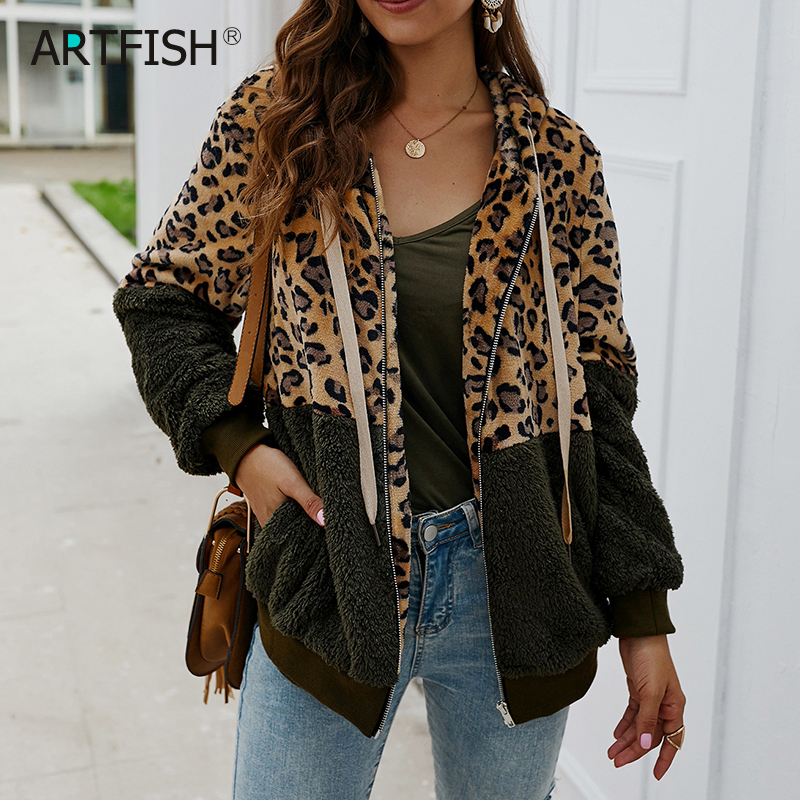 Leopard Women Hoodies Thick Patchwork Full Shirts Hooded Sweatshirts Zip-up Pockets Autumn Winter Warm Outfit Streetwear M0607