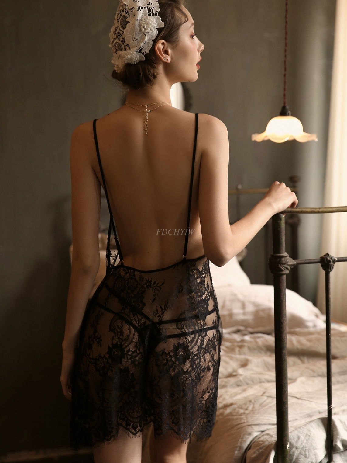 Sexy Sleepwear Women Summer Thin Lace Perspective Deep V Temptation Backless Sling Nightdress Backless Nightgowns Women