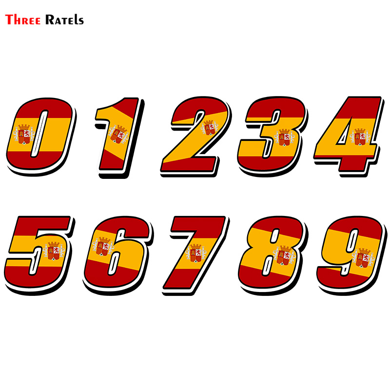 Three Ratels FTC-875#  Spain Spanish Flagl Car Styling Racing Number Motocross Auto Stickers Bike Car Waterproof Decals