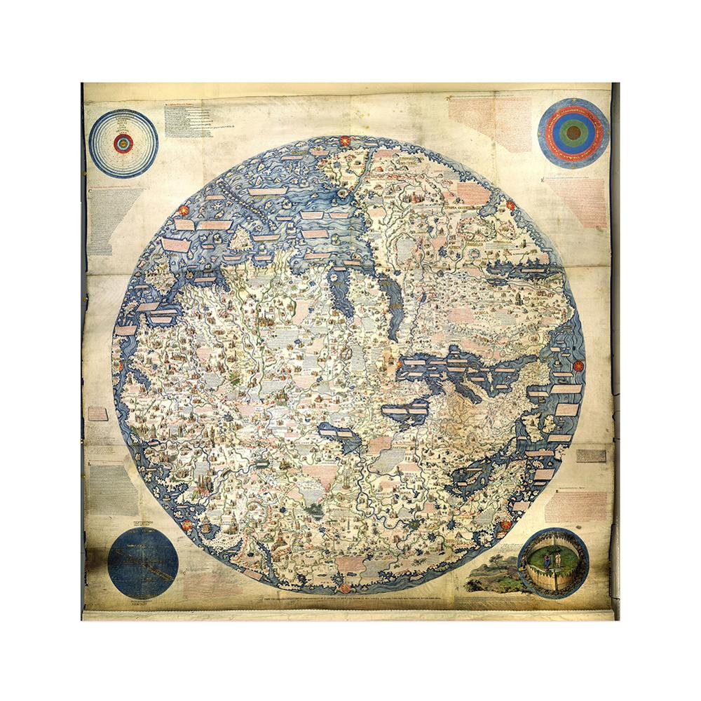 World Map Retro Style Non-woven Foldable Waterproof 90x90cm HD World Map For Trip And Travel