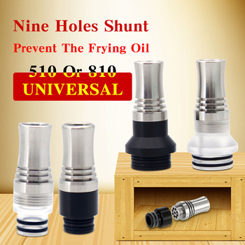 5pcs YUHETEC 510 810 Drip Tip with 9 Holes for Atomizer to Prevent E liquid from Slopping Long Drip Tip Mouthpiece for RDA RTA