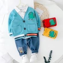פעוט ילד בגדי סטים עבור ילד ילדה תינוק 2020 חדש אופנה דינוזאור 3pcs לסרוג מעיל חולצת ג ינס סט בגדים בני 1 2 3 4 שנה