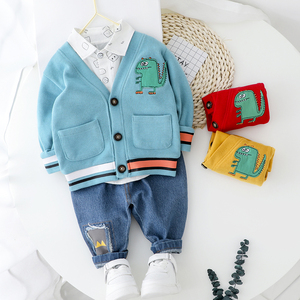 Image 1 - Toddler Boy Clothes Sets For Boy Girl Baby 2020 New Fashion Dinosaur 3pcs Knit Coat Shirt Jeans Set Clothing Boys 1 2 3 4 Year