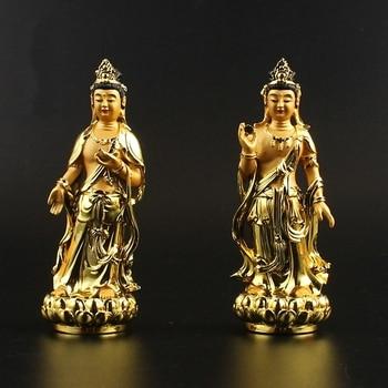 Collection Chinese Tibetan Buddhism Resin Sunshine Kwan-yin Moonlight Guan Yin Bodhisattva Statue
