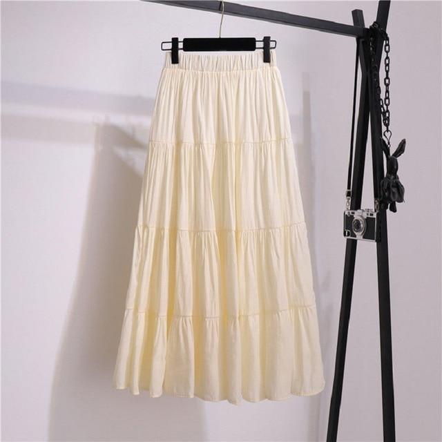 SURMIITRO Korean Style Long Skirt Women For Spring Summer 2021 Blue White Black High Waist Sun School Midi Pleated Skirt Female 3