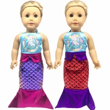 цена Fit 18 inch 43cm Born New Baby American Doll Clothes Girl Doll Purple Red Mermaid Suit Accessories For Baby Gift онлайн в 2017 году