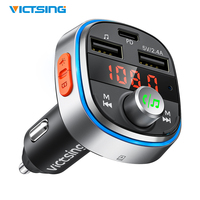 VicTsing 7 색 LED 조명 블루투스 FM 송신기 자동차 깊은베이스 PD3.0 빠른 충전 3 USB 포트 블루투스 V5.0 송신기