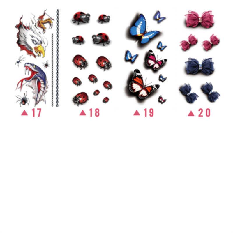 درجة الحرارة الجسم الفن المؤقتة الوشم مجموعة 3D وهمية الوشم الكبار الاطفال فراشة زهرة ملصق مضاد للمياه MH88