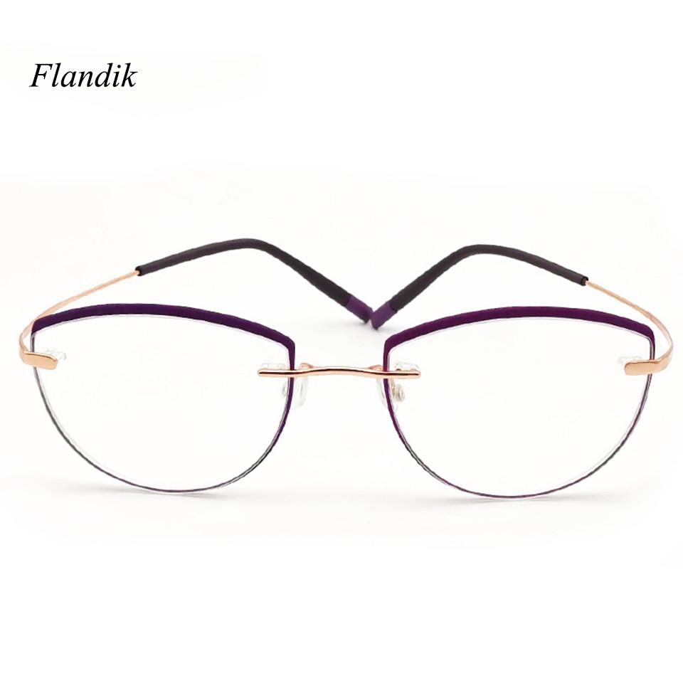 Cat Eye Rimless Optical Reading Glasses Women Metal Stainless Steel Frame Prescription Presbyopia Eyeglasses+1.00+1.50+2.00+2.50
