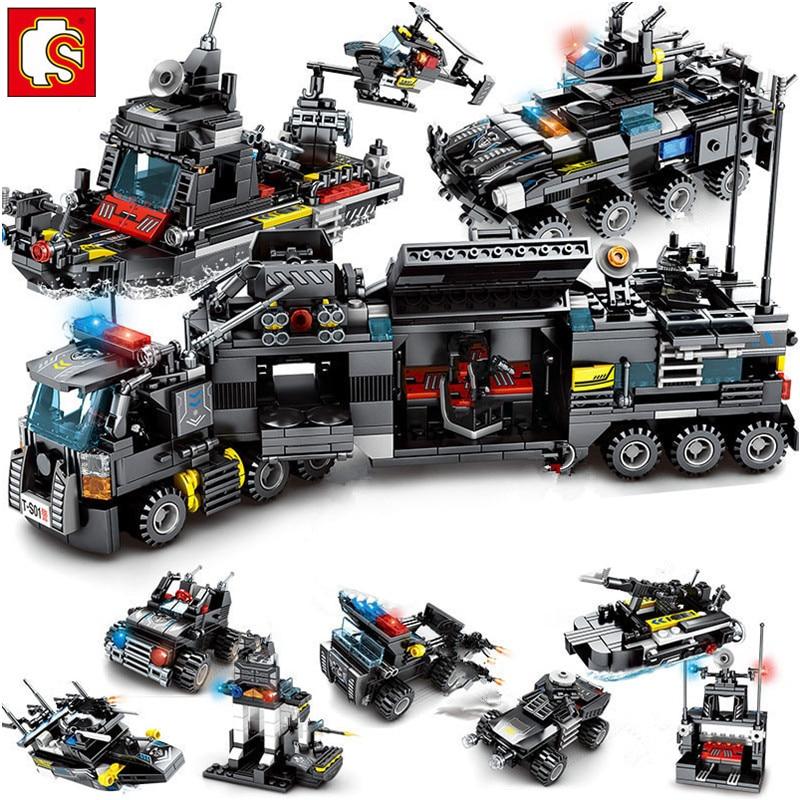 695 pièces ville SWAT Police camion bateau modèle technique blocs de construction ensembles Playmobil Brinquedos briques jouets éducatifs Sembo bloc