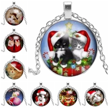 2019 Christmas Gift Cat Glass Bevel Pendant Necklace Cute Pattern Preferred