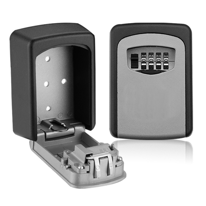 Key Safe Box Weatherproof 4 Digit Combination Key Storage Lock Box Indoor Outdoor Password Lock Hidden Keys Storage Box