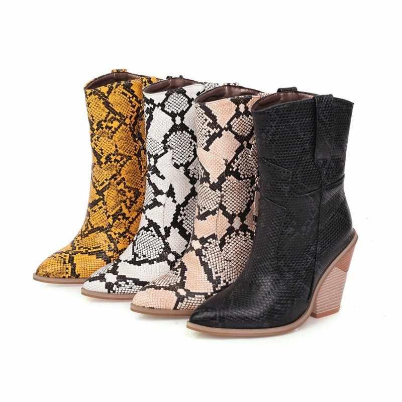 Gotik blok ayakkabı yüksek topuk yarım çizmeler tıknaz kovboy çizmeleri kadınlar için leopar ayakkabı kış siyah beyaz kovboy çizmeleri kadın