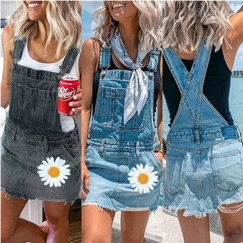 Women Fashion Sexy Printing Jumpsuits Street Style Condole Belt  jeans Shorts Denim Bib Overalls Size S-5XL